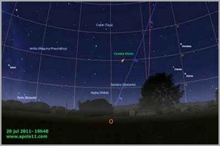 A passagem perigosa do cometa elenin se dará em 20-jul-2011