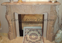 French Country Polished Woodgrain Sandstone Fire Place