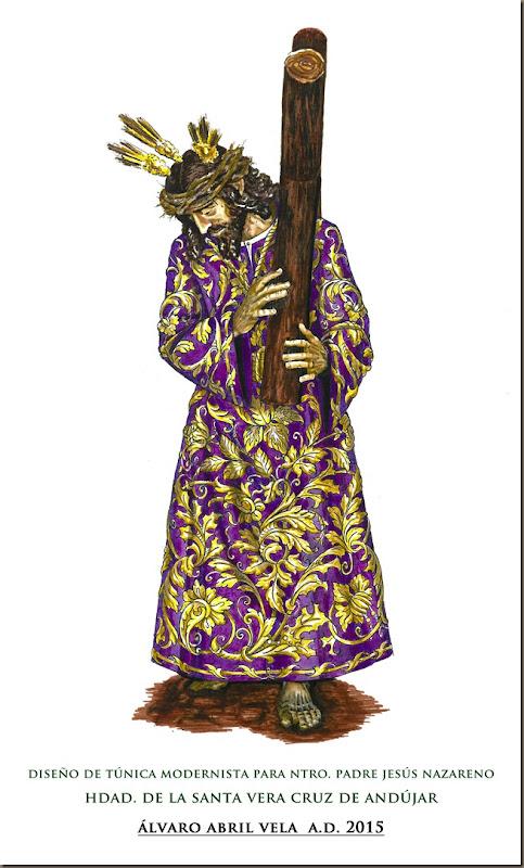 diseño tunica jesus nazareno hermandad santa vera cruz andujar diseño alvaro abril vela granada 2015