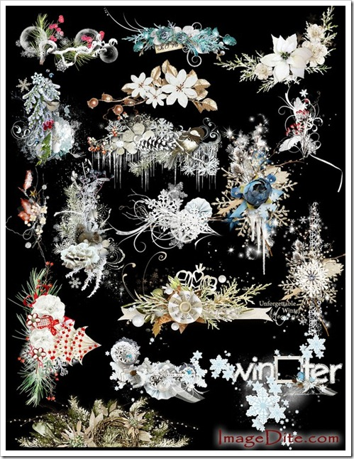 Winter clusters graphics clipart