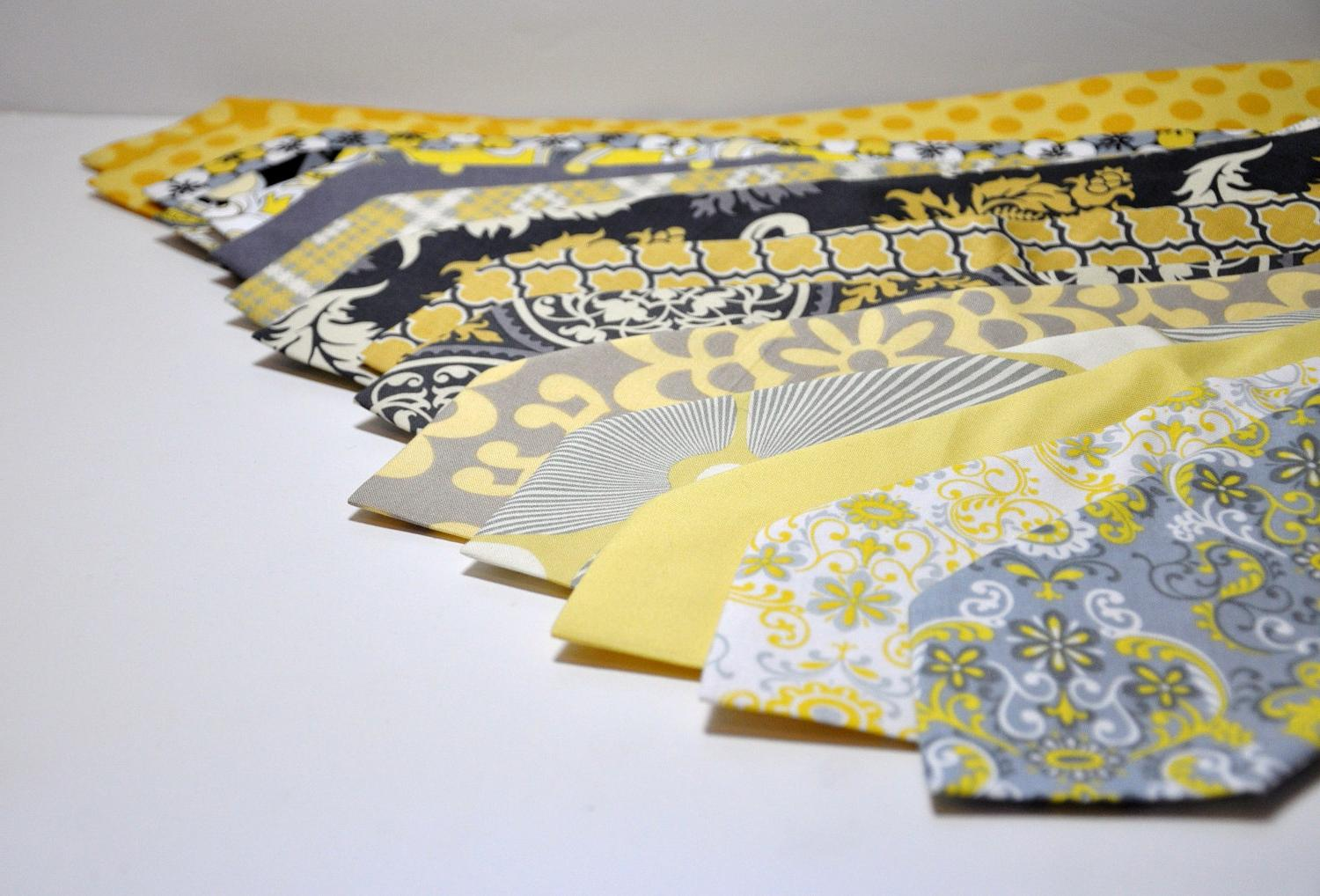 Yellow and Gray Mens Neckties
