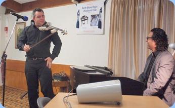 Our guest artists, Nick Jones (electric fiddle) and Ben Fernandez (Clavinova). Photo courtesy of Dennis Lyons.