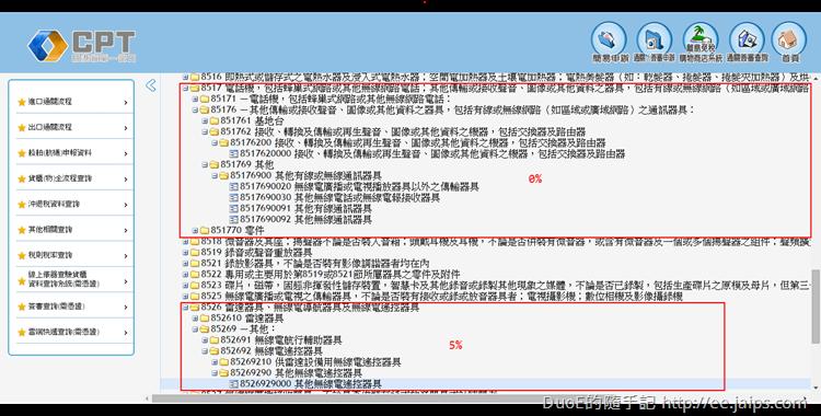 台灣CPT關港貿單一窗口稅則稅率綜合查詢作業(GC411)