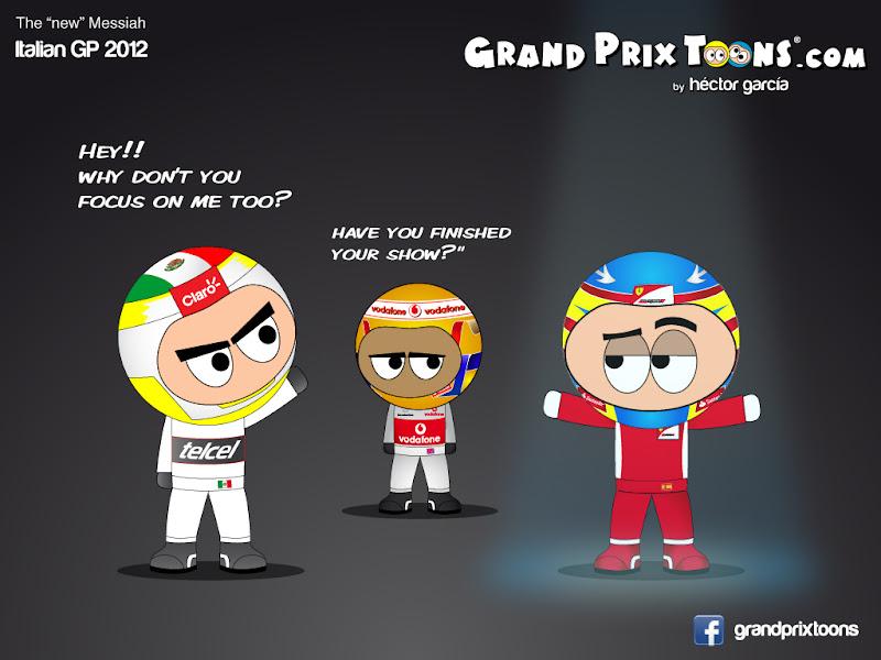 Серхио Перес Льюис Хэмилтон Фернандо Алонсо - комикс Grand Prix Toons по Гран-при Италии 2012