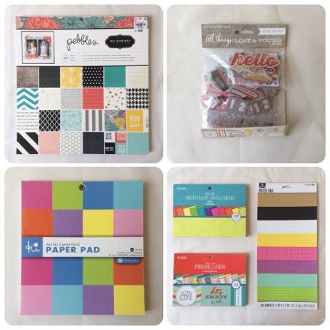 Paper pads, phrase cards, and embellishments