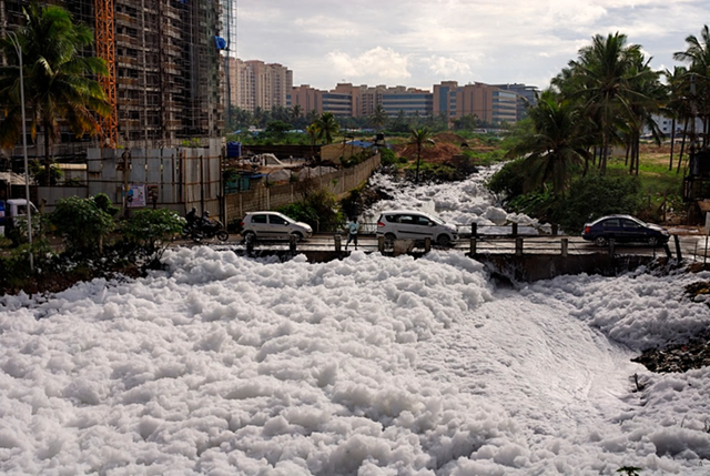 Bellandur Lake, in India's technology capital of Bangalore, carries huge volumes of toxic foam which blocks the adjacent canals. The snowy froth, a cocktail of chemicals and sewage, has a pungent odour and causes irritation on contact with the skin. Photo: Debasish Ghosh / The Guardian