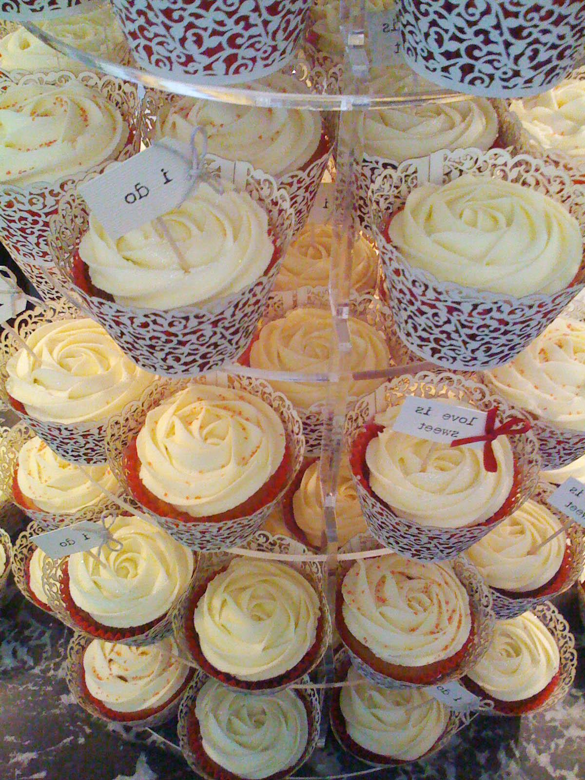 Red & Ivory Wedding Cupcakes