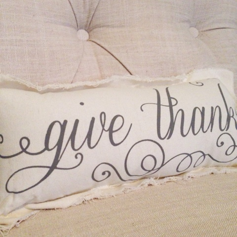 shabby chic give thanks pillow