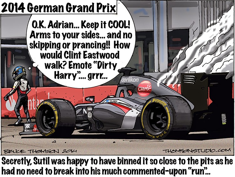 Адриан Сутиль возвращается в боксы Sauber после схода на Гран-при Германии 2014 - комикс Bruce Thomson