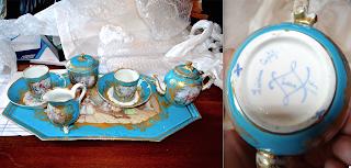 Чайный сервиз Тет-а-Тет. Севр. 19-й век. Поднос 40/21 см. Чайник 11 см. 5500 евро.
