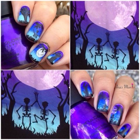 halloween, gradient, skeleton, halloween nail art