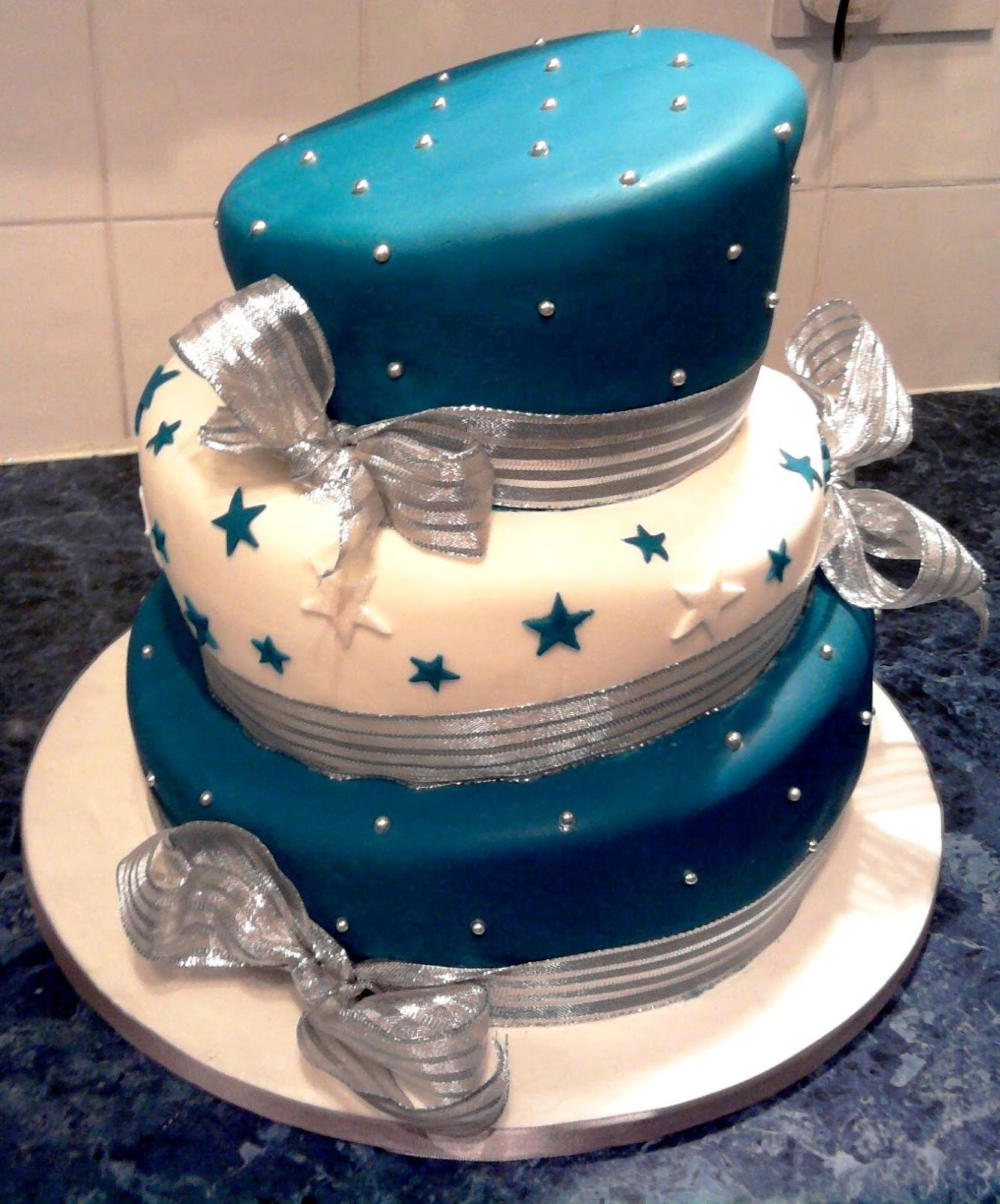 Blue And Silver Wonky Cake