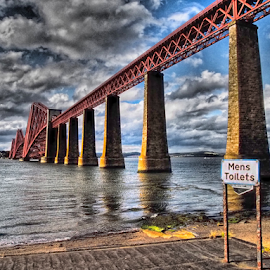Mens Toilet by Tommy  Cochrane - Landscapes Waterscapes ( forth, river forth, scotland, queensferry, mens toilet, forth bridge, beach )