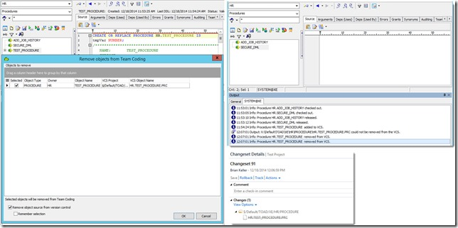 6 - Toad for Oracle 12.6 and TFS 2013 - Associating Work Items with Changesets - Dropping objects from Taod and Version Control