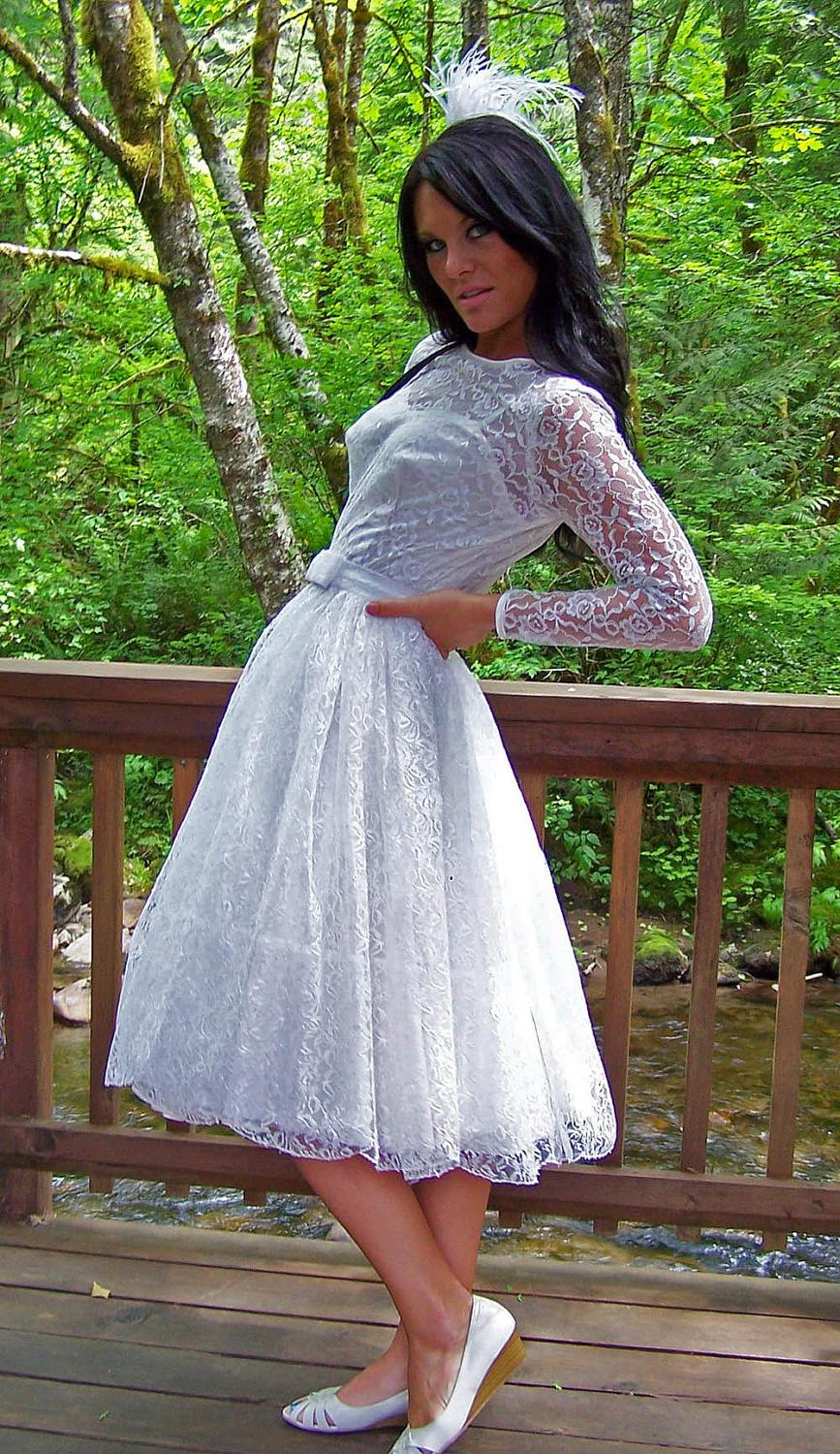 this Vintage 1950s Silk Lace and Chiffon Duo Wedding Reception Dress