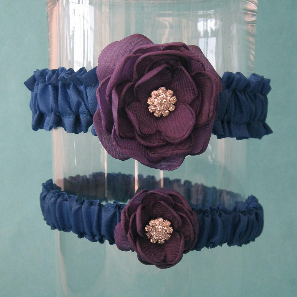 Royal Blue and Purple Rose Wedding Garter Set J172 - bridal garter accessory