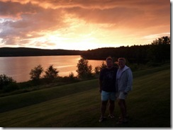 Gin and Syl sunset at Lake Memphremagog