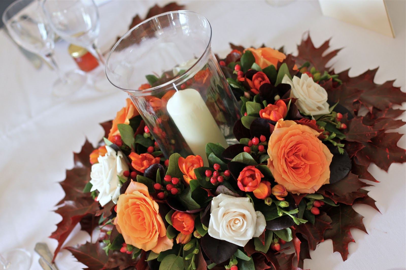 Autumn wedding table centre