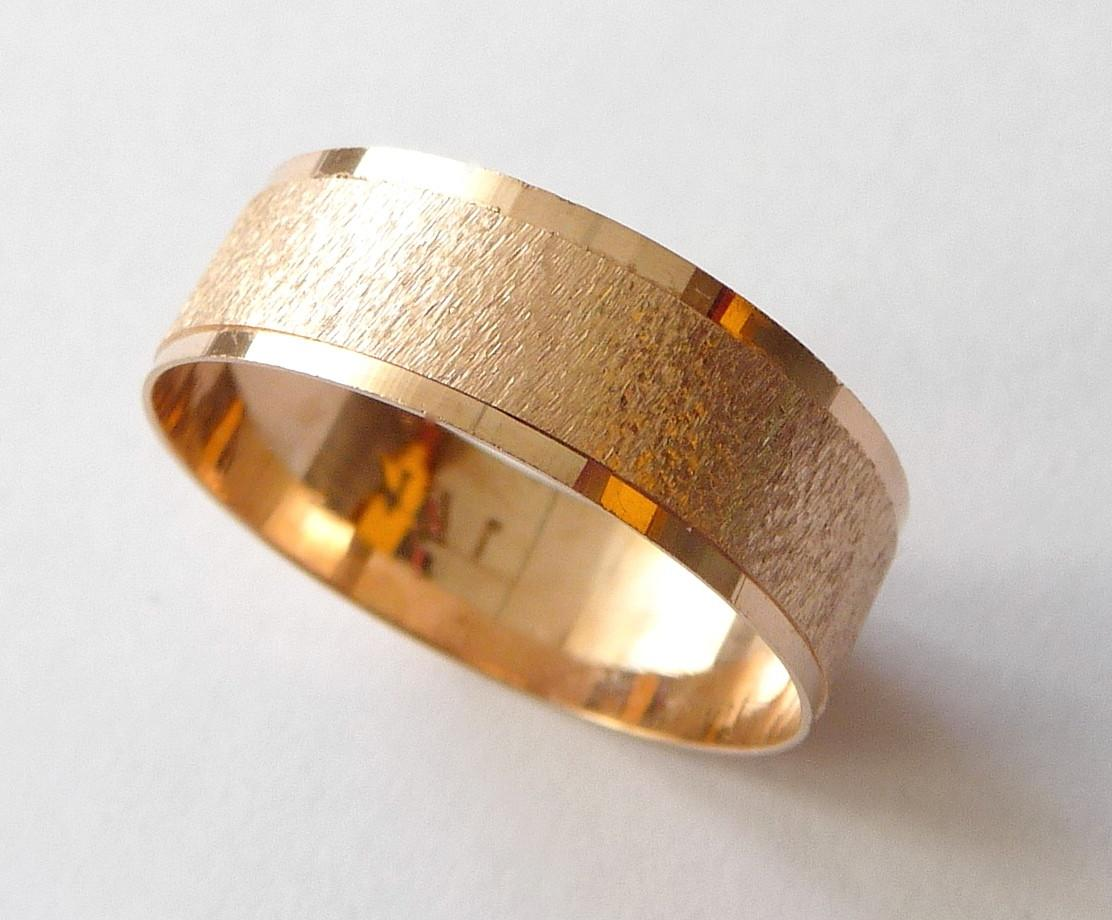 Rose gold wedding band men and