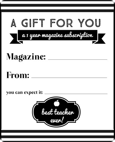 magazine subscription gift teacher