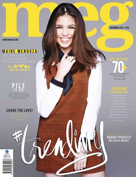 Maine Mendoza covers Meg Magazine November 2015