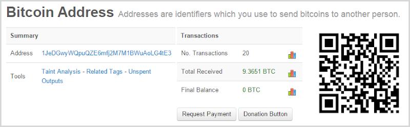 Bitcoin address 1JeDGwyWQpuQZE6mfj2M7M1BWuAoLG4tE3