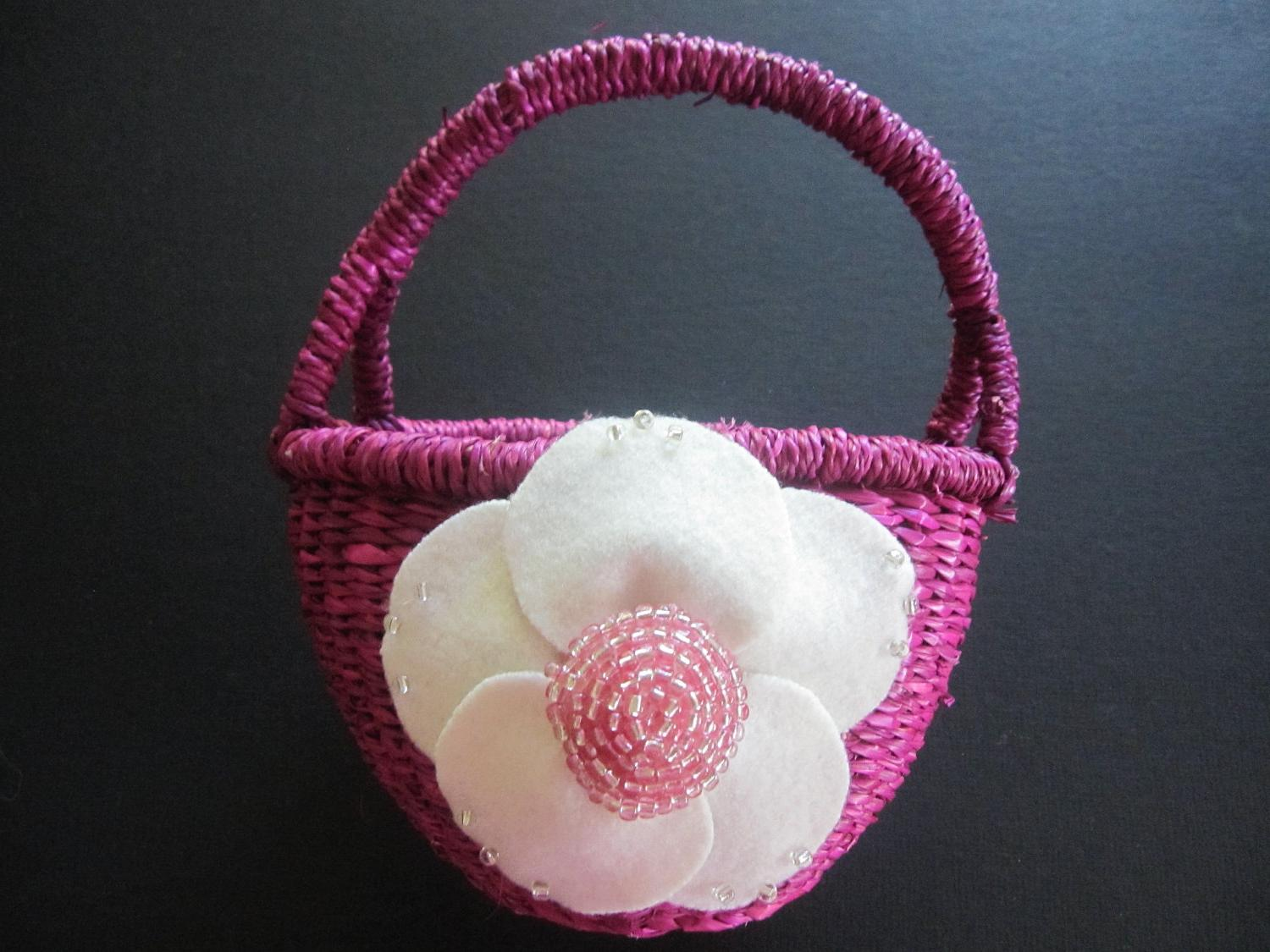 Flower Girl Basket Flower Wedding Ivory Posey Fuschia Pink