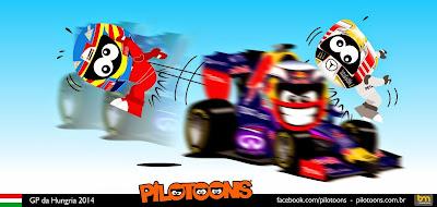 Даниэль Риккардо побеждает с убыбкой на Red Bull - комикс pilotoons по Гран-при Венгрии 2014