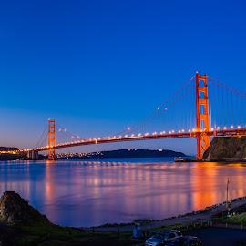 Golden Gate Bridge at Sunset by John Rourke - Buildings & Architecture Bridges & Suspended Structures ( 2017, fort baker, marin county, golden gate bridge, ca, california, sunrise, landscape, usa, horseshoe bay )