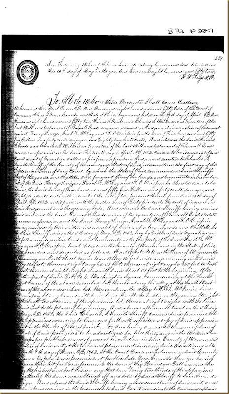 John A. Irwin,Catharine Irwin Warren Co, OHconveySarah Haines 1852 2