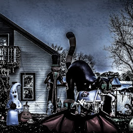 Getting Ready For Halloween by Julie Wooden - Public Holidays Halloween ( scary, pumkins, north dakota, hebron, monsters, ghost, landscape, halloween, whiches, autumn, outdoors, fall, scenery, decorations, jack-o-lantern )