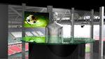 virtuele sport studio, achtergrond is customizable.
