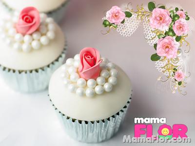 Cupcakes con perlas y rosas de azúcar para Boda