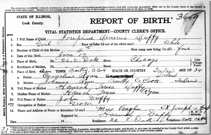 Birth certificate of Josephine Demerris Duffy, Cook County, Illinois, 1912