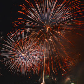 Double One by Kamila Romanowska - Abstract Fire & Fireworks ( new year, 2015, australia, fireworks, nye, celebration, nye 2015, sydney )