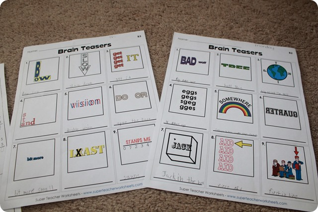 Super Teacher Worksheets Brain Teasers