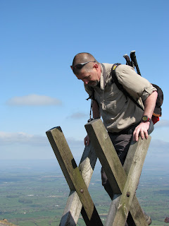 David makes scaling the stile look easy