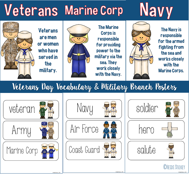 VeteransDayVocabularyBranchPosters