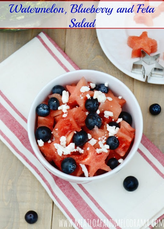 watermelon blueberry and feta salad