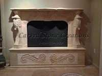 Marble Fireplace with Acanthus Leaf Detailing, Beige Venuto Marble