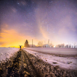 Frozen Dream by Srdjan Vujmilovic - Digital Art People ( canon, person, street, land, house, landscape, people, selfportrait, astrography, time, winter, astro, cold, hands, stars, snow, path, weather,  )