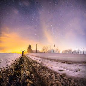Frozen Dream by Srdjan Vujmilovic - Digital Art People ( canon, person, street, land, house, landscape, people, selfportrait, astrography, time, winter, astro, cold, hands, stars, snow, path, weather,  )