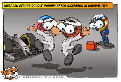 двойной подиум McLaren после дисквалификации Риккардо на Гран-при Австралии 2014 - комикс Chris Rathbone