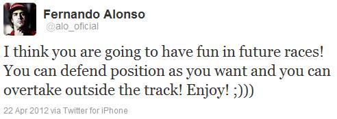 Фернандо Алонсо в твиттере после Гран-при Бахрейна 2012
