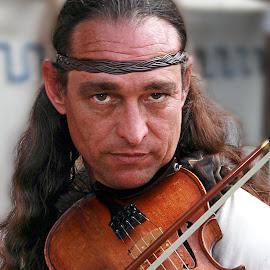 Medieval Violinist by Elk Baiter - People Musicians & Entertainers ( renaissance, headband, virginia, festival, portrait, man, violinist,  )