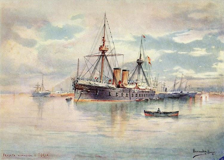 Acuarela de Hernandez Monjo. La VITORIA fondeada seguramente en Barcelona. Del libro La Armada Española. Año 1898.JPG