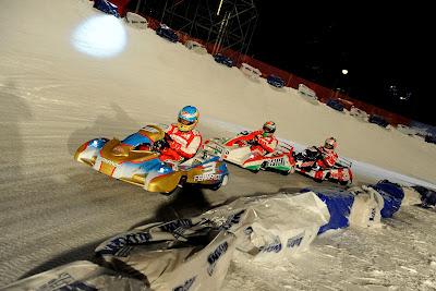 Фернандо Алонсо и Джанкарло Физикелла - картинговая гонка по льду на Wrooom 2013
