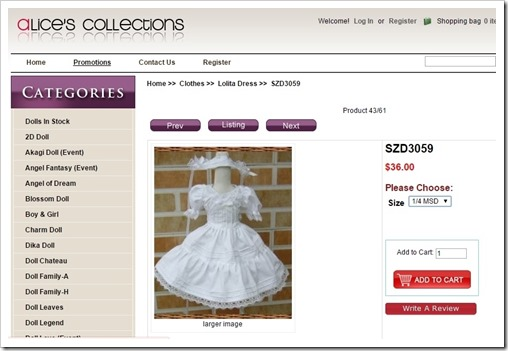 szd3059 Dress for Ball Jointed Dolls from Alice's Collections