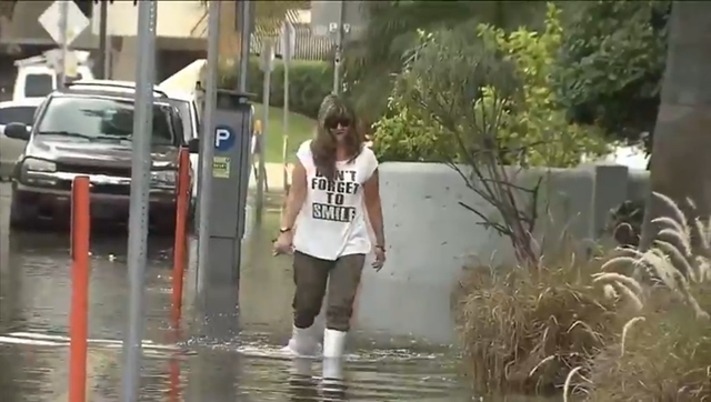 A resident of Miami Beach wades through floodwaters caused by Supermoon tides, 29 September 2015. High tides were reported throughout Miami-Dade and Broward counties. Photo: Local10.com