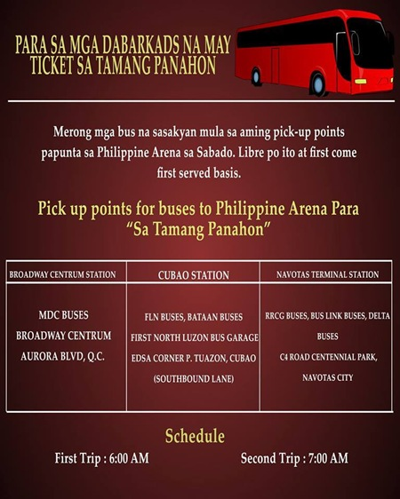 Eat Bulaga offers free shuttle to Philippine Arena